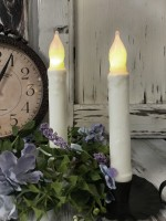 """Ivory Flameless 6"""" Battery Cottage Farmhouse Timer Taper Candle - Set of 2 -"""