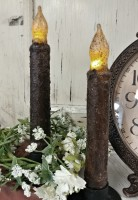 """6"""" Dark Brown Rustic Battery Operated Timer Taper Candle - Set of 2 -"""
