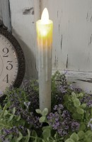 Motion Flame Cream Battery Operated Flameless Timer Taper Candle