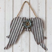 Rustic Cottage Metal Angel Wings Wall Decor