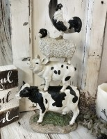 Farm Animal Stack Resin Figure ~ Cow, Pig, Sheep & Rooster