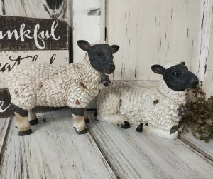 Sheep Figurines - Set of 2 - Farmhouse Farm Animal Figures