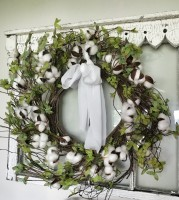 Wispy Green Leaves and Cotton Pod Wreath - Cottage Farmhouse Floral Accent