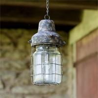 LED Vintage Basket Rustic Pendant Timer Lamp