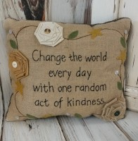 Change The World Button & Burlap Stiched Pillow