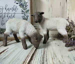 Grazing Sheep Figurines - Set of 2