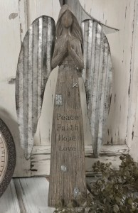 Inspirational Farmhouse Angel Figure with Galvanized Wings