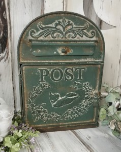 Vintage Inspired Rustic Post Box with Bird Design