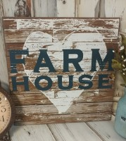 Rustic Farm House Heart Wooden Wall Sign