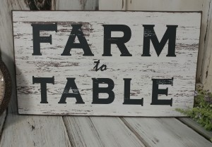 Farm to Table Rustic Farmhouse Home Decor Wood Sign