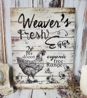Weaver's Eggs Sign - Antique Farmhouse Inspired Wall Decor - Vintage Advertising