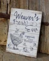 Rustic Farmhouse Fresh Eggs Primitive Wall Sign -