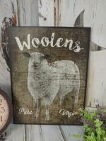 Rustic Farmhouse Woolens Sheep Wooden Sign