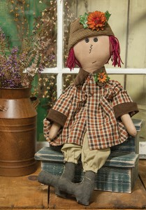Raggedy Ann Primitive Country Home Decor Doll with Flowers