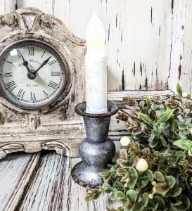 Alette Pewter Taper Candle Holder - Antique Vintage Farmhouse Inspired