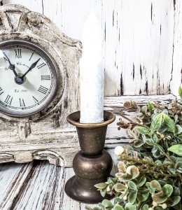Alette Antiqued  Brass Taper Candle Holder Vintage Farmhouse Inspired
