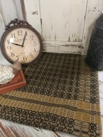 Richburg Weave Mustard & Black Woven Table Runner - Primitive Colonial Decor