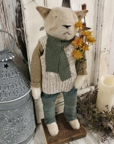 Handmade Repurposed Autumn Kitty Home Decor Accent