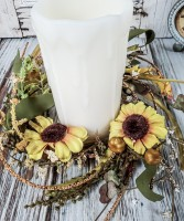 Autumn Sunflower Pillar Candle Ring