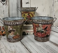 Set of 3 Vintage Inspired Halloween Home Decor Pails