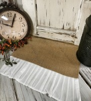 Cottage / Farmhouse Burlap Table Runner with White Cotton Ruffle