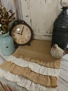 Farmhouse Cottage Burlap and Natural Ruffle Long Table Runner