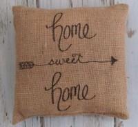 Sweet Home Arrow Burlap Farmhouse Home Decor Accent Pillow
