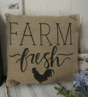 Rustic Farm Fresh Rooster Burlap Home Decor Accent Pillow
