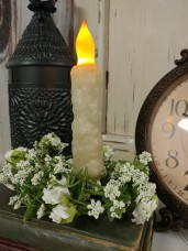 Country Cottage Lumpy Ivory Flameless Battery Timer Taper Candle