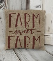 Burgandy Sweet Farm Burlap Home Accent Pillow