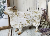 Rustic White Distressed Sheep Figure - Antique Farmhouse