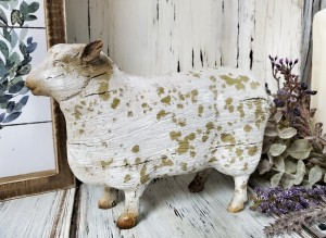 Rustic White Distressed Sheep Figure - Antique Farmhouse