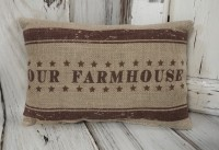 Our Farmhouse Burlap Home Decor Accent Pillow