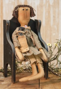 Primitive Country Home Decor Doll with Crow