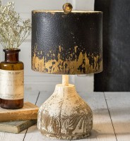 Wood Base Table Lamp with Distressed Metal Shad