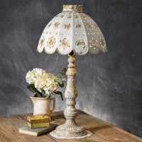 Rustic Cottage Table Lamp with Punched Flower Metal Shade