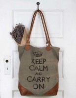 Rustic Canvas and Leather Keep Calm Tote / Purse