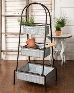 Rustic Farmhouse Three Bin Cart