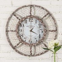 Rustic Farmhouse Chicken Wire Wall Clock