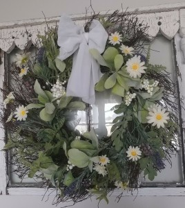 Spring Daisy Lavender & Greenery Wreath - Cottage Farmhouse Floral Accent