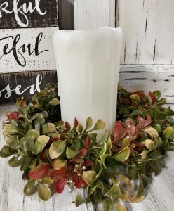 Red Greenery Floral Pillar Candle Ring - Home Decor Accent