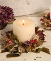 Vintage Inspired Romantic Velveteen Floral Candle Ring