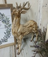 Rustic Carved Resin Deer Figure - Farmhouse Style