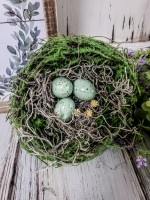 Summer Birds Nest with Eggs & Flowers