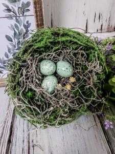 Summer Birds Nest with Eggs & Flowers