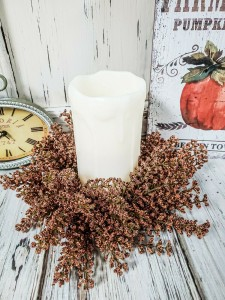 Pumpkin Astilbe Autumn Floral Pillar Candle Ring