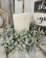 Eucalyptus Greenery Pillar Candle Ring
