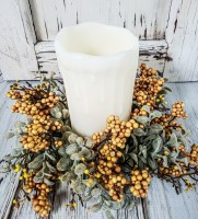 Autumn Mustard Berry & Eucalyptus Pillar Candle Holder