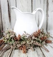 Pumpkin Flower & Autumn Herbs Wreath / Ring