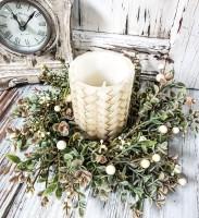 Cream Berry Autumn Pillar Candle Ring